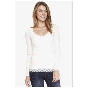 Express Ivory V- Neck Sweater
